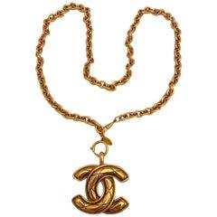 Chanel 1980s Gold Quilt CC Pendant Necklace
