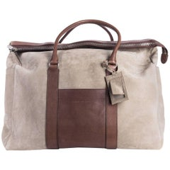 Brunello Cucinelli Men's Beige Dark Brown Weekender Bag