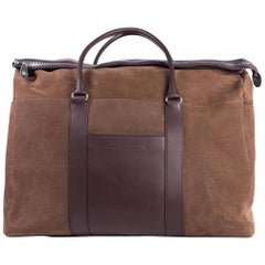 Brunello Cucinelli Men's Brown Buffalo Leather Weekender Bag