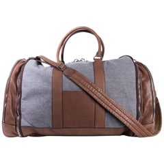 Brunello Cucinelli Men's Gray Wool Brown Leather Duffle Travel