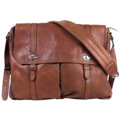 Brunello Cucinelli Men's Brown Leather Expandable Messenger Bag