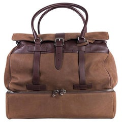 Brunello Cucinelli Men's Solid Brown Leather Weekender Bag