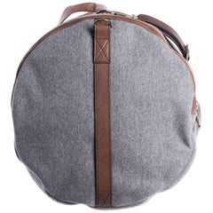 Brunello Cucinelli Men's Gray Cotton Brown Leather Duffle Bag