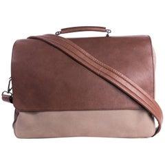 Brunello Cucinelli Mens Two Tone Brown Double Zip Messenger Bag