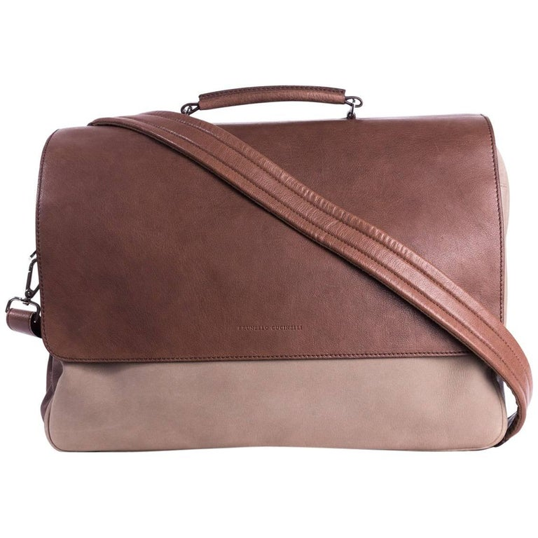 Brunello Cucinelli Mens Two Tone Brown Double Zip Messenger Bag For Sale dd47ee53f4f93