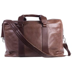 Brunello Cucinelli Men's Brown Leather Travel Bag