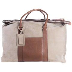 Brunello Cucinelli Men's Beige Light Brown Weekender Bag