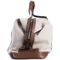 Brunello Cucinelli Beige Canvas Brown Leather Holdall Travel Bag