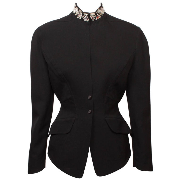 Thierry Mugler  Fitted  Black Jacket with  Jewelled Crystal Collar