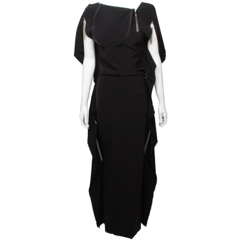 Issey Miyake Long Black Art Wear Dress  M For Sale