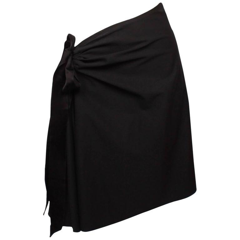 Lanvin Black Cotton Side gather Asymmetrical Skirt Size 42, 2004