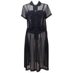 Comme des Garcons Sheer Navy Frill Dress
