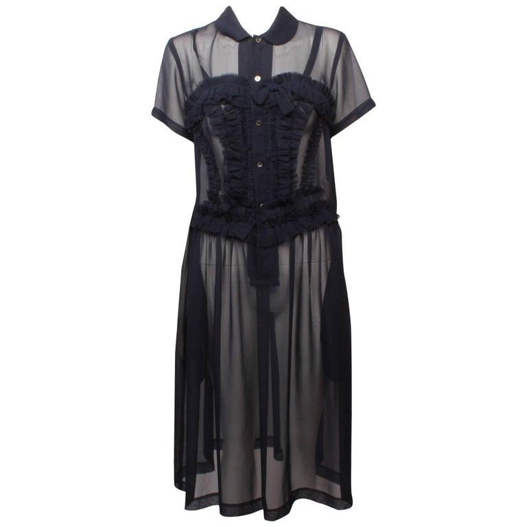 Comme des Garcons Sheer Navy Frill Dress   For Sale