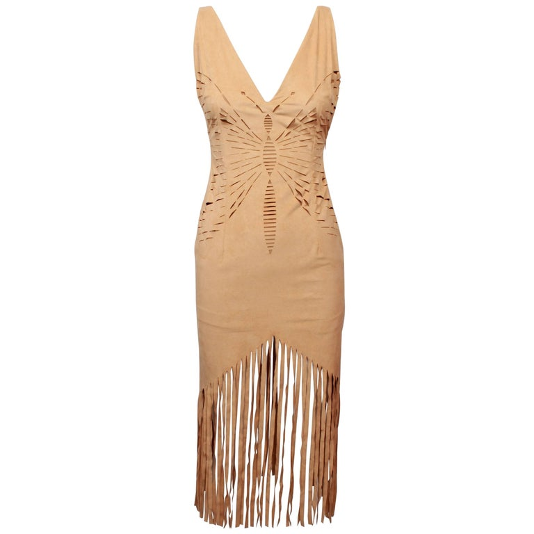 """Christian Dior Beige """"Suede Look"""" Laser Cut Butterfly Fringed Dress"""