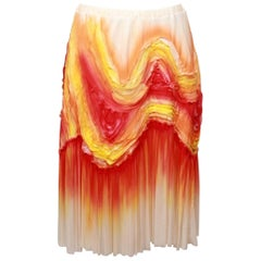 Issey Miyake Orange and Yellow Swing Skirt  M