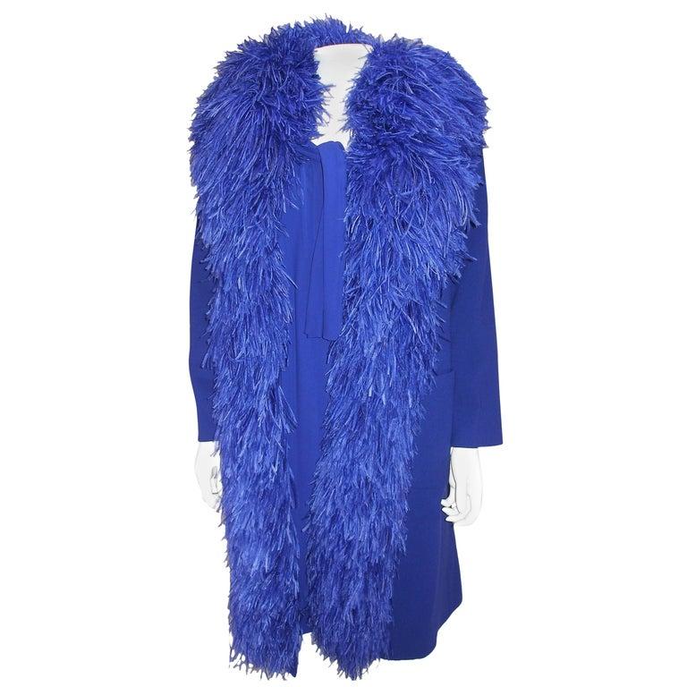 Circa 1950 Vintage Dress Coat Set Silk and Ostrich Feathers Balmain Couture 36FR