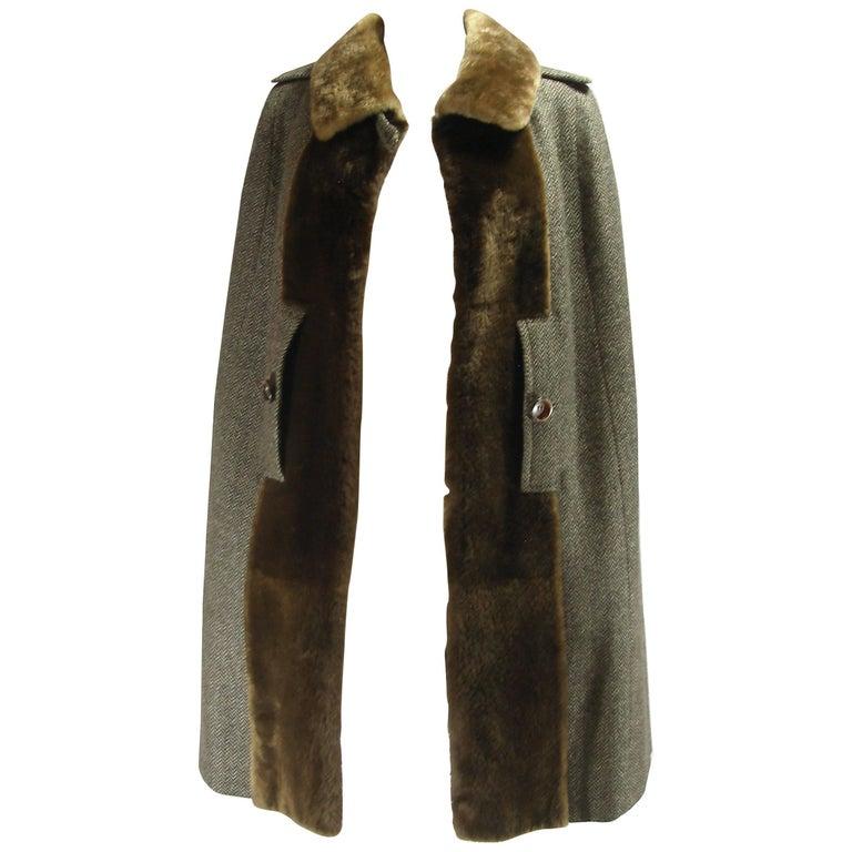 Vintage Cape Pierre Balmain Rabbit Fur and Wool Size 38 FR / 8US