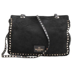 VALENTINO GARAVANI Rockstuds Bag in Black Suede and Gilded Metal Studs