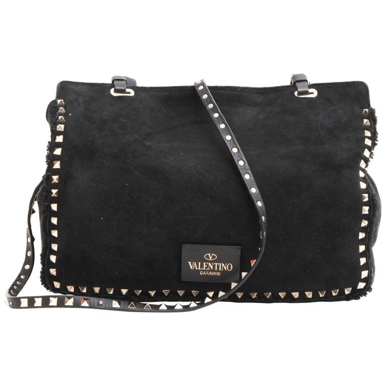 VALENTINO GARAVANI Rockstuds Bag in Black Suede and Gilded Metal Studs