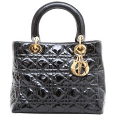 CHRISTIAN DIOR 'Lady Dior' Vintage Handbag in Black Patent Leather