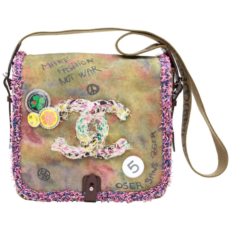 CHANEL  'Peace & Love' Shoulder Bag in Khaki Canvas