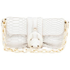 LANVIN Baguette Bag in White Python Leather