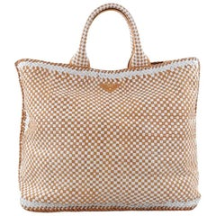 Prada Open Tote Madras Woven Leather Large