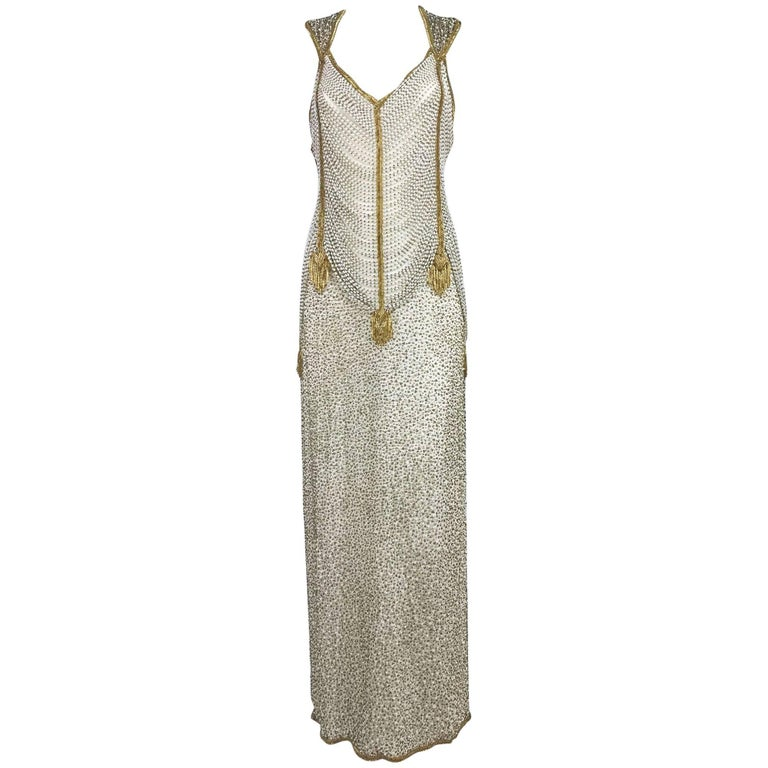 Naeem Khan Raizee cream and gold draped beaded gown 1980s