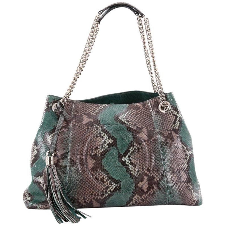 48262b559674c8 Gucci Soho Chain Strap Shoulder Bag Python Medium at 1stdibs
