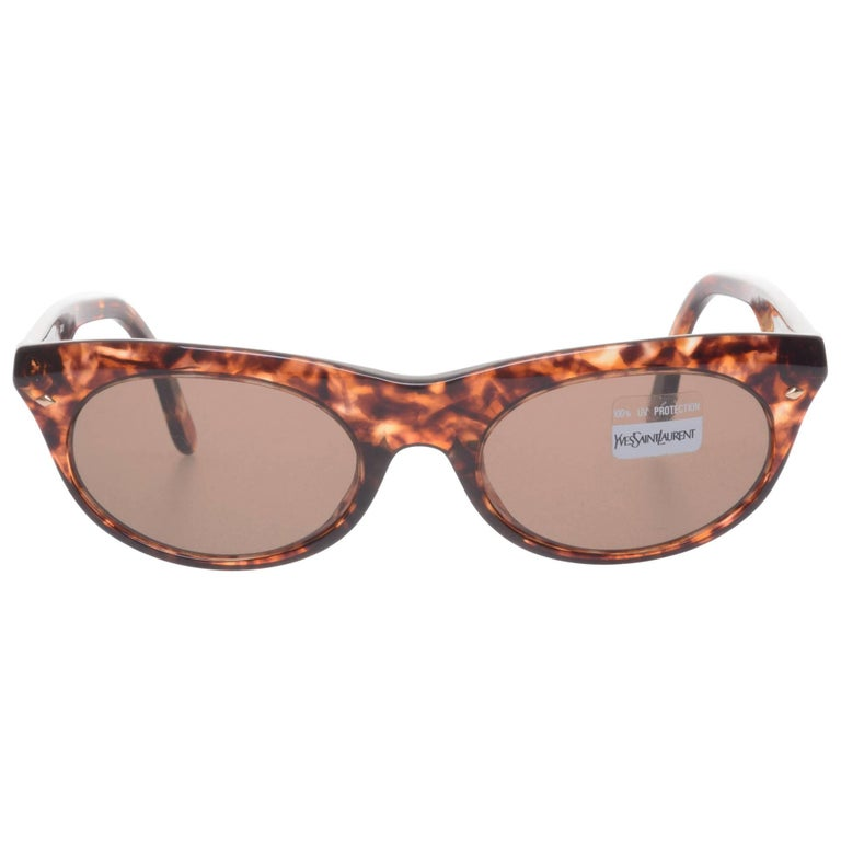 YVES SAINT LAURENT Brown Stunning Oval Cat Eye Sunglasses