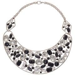 Krizia Metallic Necklace with Geometric Gems