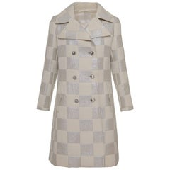 1960s Italian Tailor White Cotton and Silver Lurex Square Padded Coat