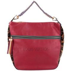 Louis Vuitton Limited Edition Flight Safari Handbag Calfskin and Leopard Chenill