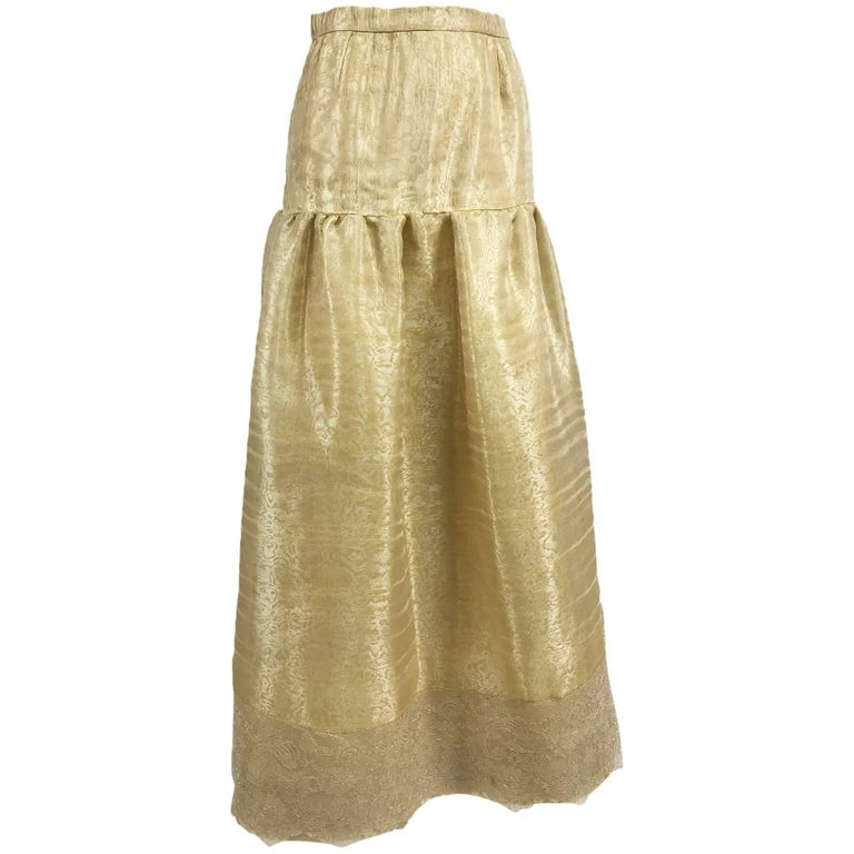 Emanuel Ungaro Studio Couture gold spun silk organza evening skirt For Sale