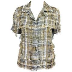 Chanel gold metallic woven ribbon short sleeve jacket 2006P