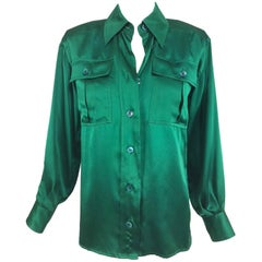 Yves Saint Laurent Emerald Green silk satin blouse 1970s