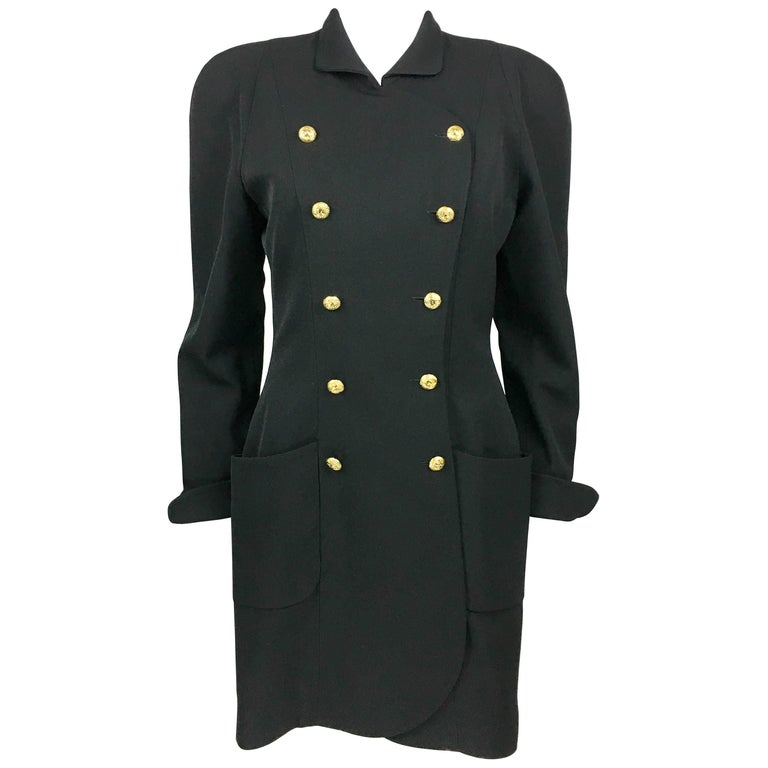 1990s Chanel Black Wool Dress / Coat With Gilt Logo Buttons