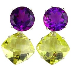 8 Carats of Amethyst and 12 Carats of Champagne Quartz Sterling Silver Earrings