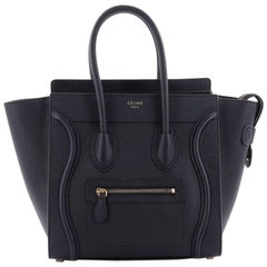 Celine Luggage Handbag Grainy Leather Micro
