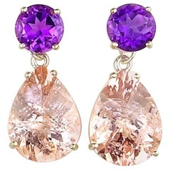 Unique3.62 Carats Amethysts & 15.16 Carats of Morganite Sterling Silver Earrings