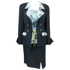 1993 Chanel Black Boucle and Novelty-Print Silk 3-Piece Ensemble
