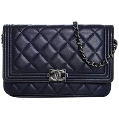 Chanel Navy Quilted Lambskin Boy Wallet On Chain WOC Bag