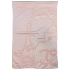 Chanel Blush Pink Silk Jacquard Wrap/Shawl With Abstract Paris Cityscape