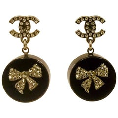 2010 Chanel Rare Resin Crystal Bows and Crystal CC Logo Earrings