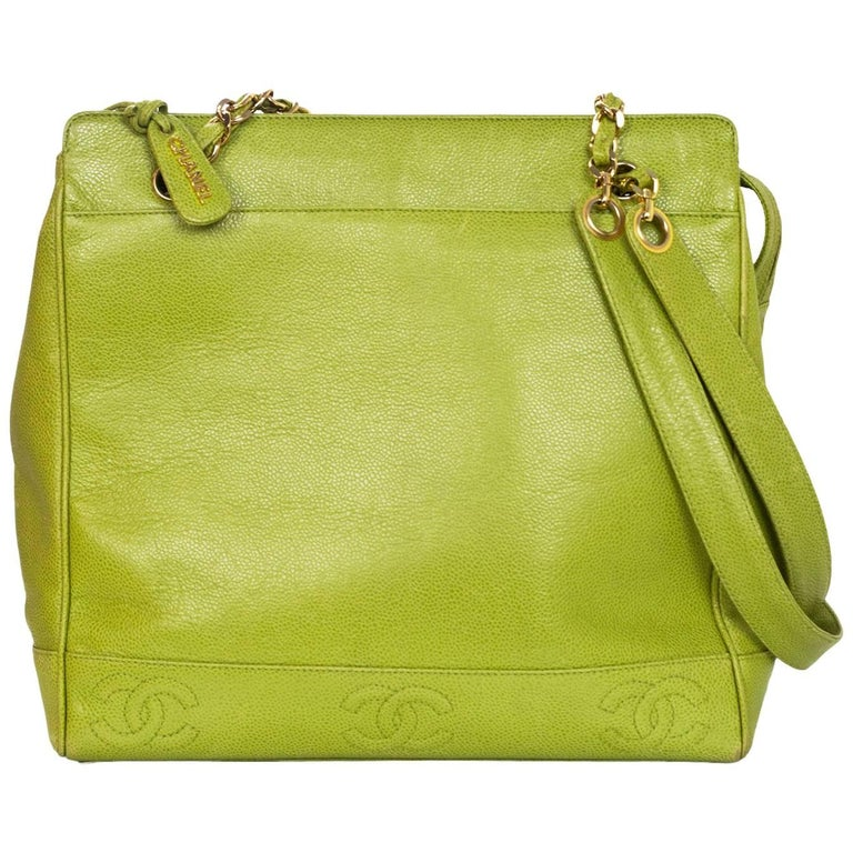 Chanel Vintage Green Caviar Leather CC Tote Bag