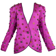 Vintage Yves Saint Laurent Gripoix Gemstone Satin Evening Jacket