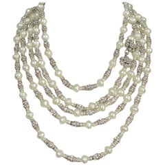 Chanel Vintage Extra Long Pearl and Rhinestone Necklace and Clasp
