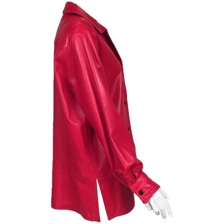 Bill Blass Red Lambskin Shirt Jacket