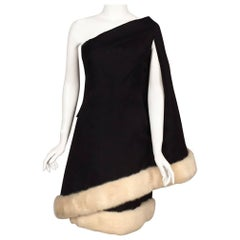 Black Silk Gazar French Haute Couture Dress White Mink Trim