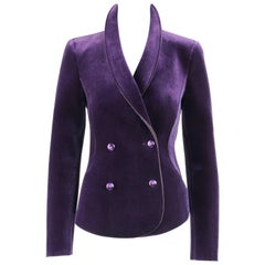 EMPORIO ARMANI A/W 2013 Royal Purple Velvet Neoprene Double Breasted Blazer